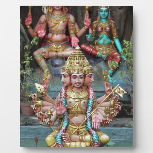 Goddess Durga with Three heads Hindu temple Plaque