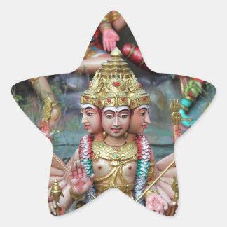 Goddess Durga with Three heads Hindu temple Star Sticker