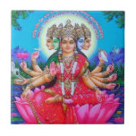 """Goddess Gayatri Devi Deity Ceramic Tile<br><div class=""""desc"""">Gayatri Devi the Goddess is considered the veda mata, Goddess Gayatri is also worshipped as the Hindu Trimurti. Some also consider her to be the mother of all Gods and the culmination of Lakshmi, Parvati and Sarasvati. Gayatri is typically portrayed as seated on a red lotus, signifying wealth. She often...</div>"""
