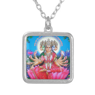 Goddess Gayatri Devi Silver Plated Necklace