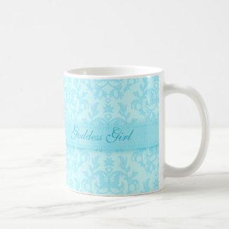 Goddess girl damask pale blue mug