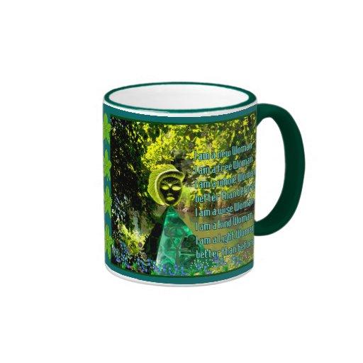 Goddess In Green World Ringer Mug