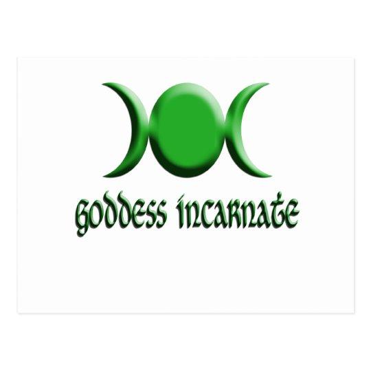 goddess incarnate green postcard
