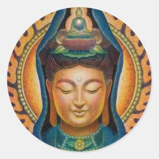 Goddess Kuan Yin's Flame Classic Round Sticker