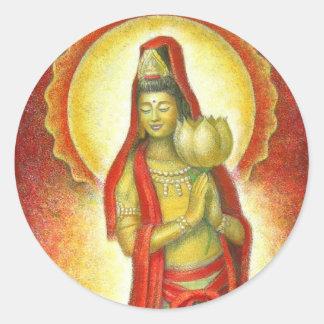 Goddess Kuan Yin's Lotus Round Sticker