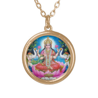 Goddess Lakshmi necklace with gold finish