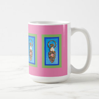 Goddess Mosaic in Green & Blue on Pink Coffee Mug