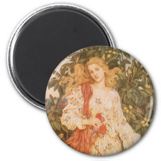 Goddess of Blossoms and Flowers, Flora by Morgan 2 Inch Round Magnet