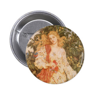 Goddess of Blossoms and Flowers, Flora by Morgan Pinback Button