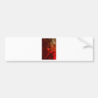 Goddess of Compassion Bronze Statue Red Grunge Bumper Sticker