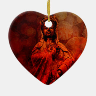 Goddess of Compassion Bronze Statue Red Grunge Ceramic Ornament