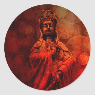 Goddess of Compassion Bronze Statue Red Grunge Classic Round Sticker
