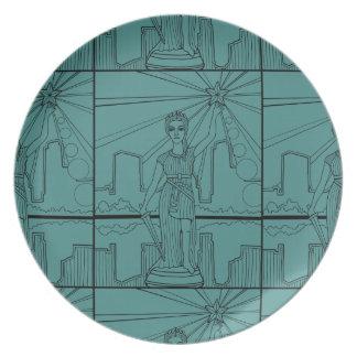 Goddess Of Liberty Line Art Design Melamine Plate