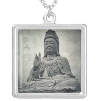 Goddess of Mercy Square Pendant Necklace