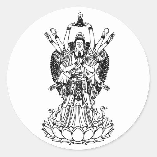 Goddess Of Mercy Round Stickers