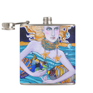 Goddess of the Sea Hip Flasks
