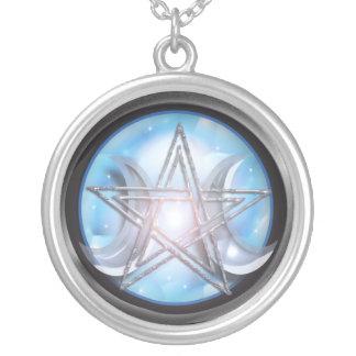 goddess pentacle round pendant necklace