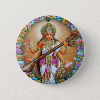 Goddess Saraswati Button