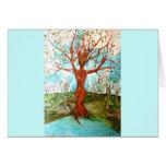 Goddess Tree Figure in Autumn Spiritual Painting Cards