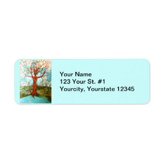 Goddess Tree Figure in Autumn Spiritual Painting Label