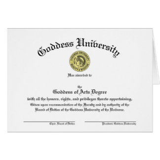 Goddess University Diploma Customizable Card