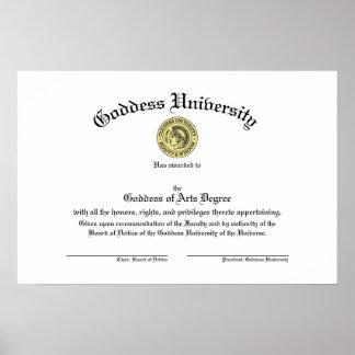 Goddess University Diploma Poster