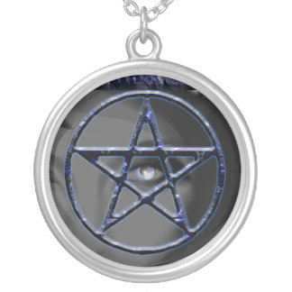 Goddess Watching Pentacle Round Pendant Necklace