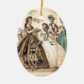 Godey's Ladies Book Victorian Fashion Plate Weddin Double-Sided Oval Ceramic Christmas Ornament