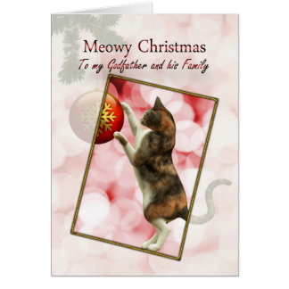Godfather and family, Meowy Christmas Card