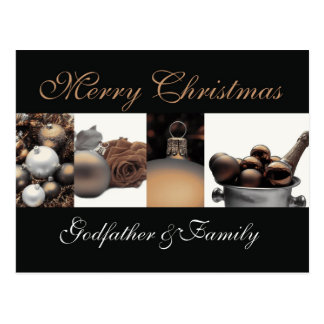 Godfather and Family Merry Christmas card Postcard