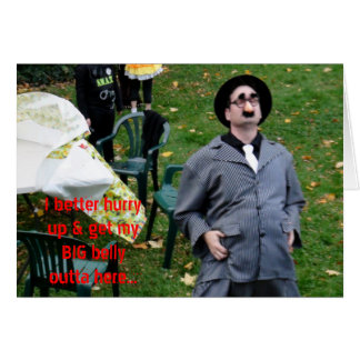 Godfather Big Belly on the Run Halloween Humor Greeting Cards