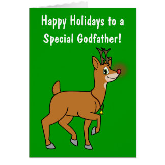 Godfather Happy Holidays Red-Nosed Reindeer Greeting Card