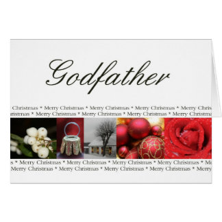 Godfather Merry Christmas red, black & white Greeting Card