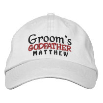 GODFATHER of the GROOM Custom Name WHITE A07C7E1 Embroidered Baseball Cap