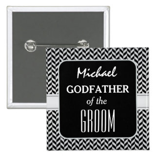 GODFATHER OF THE GROOM Trendy Houndstooth A05 Pinback Button