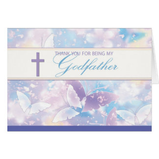 Godfather Thank You Pastel Butterflies Card