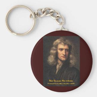 GodfreyKneller-IsaacNewton-1689 Basic Round Button Keychain