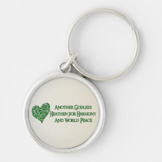 Godless For World Peace Silver-Colored Round Keychain