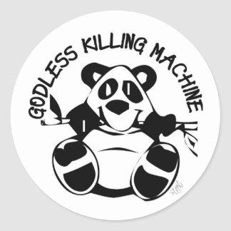 GODLESS KILLING MACHINE PANDA CLASSIC ROUND STICKER