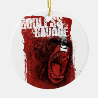 Godless Savage Double-Sided Ceramic Round Christmas Ornament