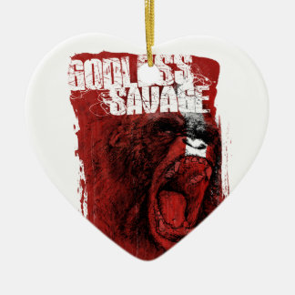 Godless Savage Double-Sided Heart Ceramic Christmas Ornament