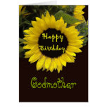 GODMOTHER Custom Name Happy Birthday Sunflower Card