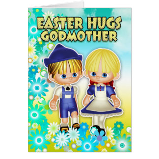Godmother - Easter Card, Two Children In Flowers Card