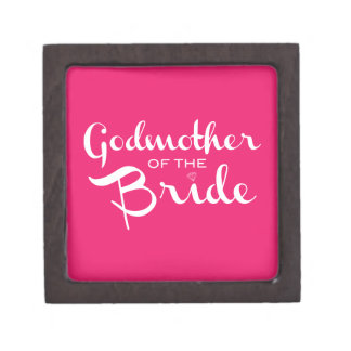 Godmother of Bride Gift Box White On Hot Pink