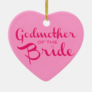 Godmother of Bride Hot Pink On Pink Christmas Tree Ornaments