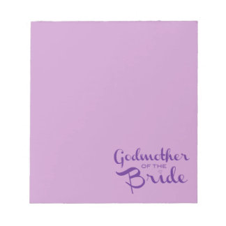 Godmother of Bride Purple on Purple Memo Note Pads