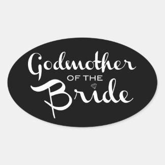 Godmother of Bride Sticker White On Black Stickers