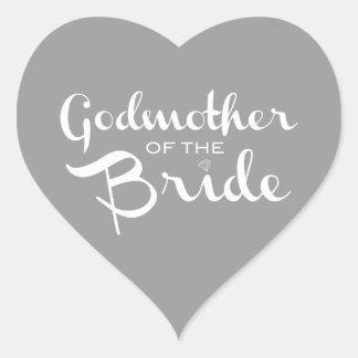 Godmother of Bride White on Grey Heart Sticker