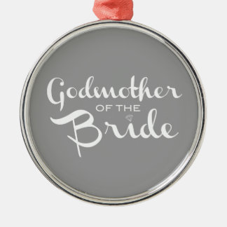 Godmother of Bride White on Grey Christmas Ornament