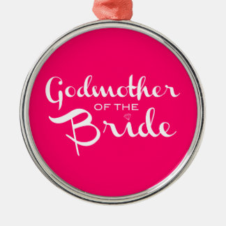Godmother of Bride White on Hot Pink Christmas Tree Ornament